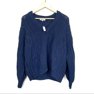MADEWELL V Neck Navy Blue Cable Knit Sweater